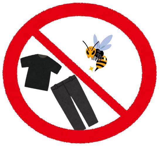 蜂は黒っぽいものに反応するため黒い衣類に注意