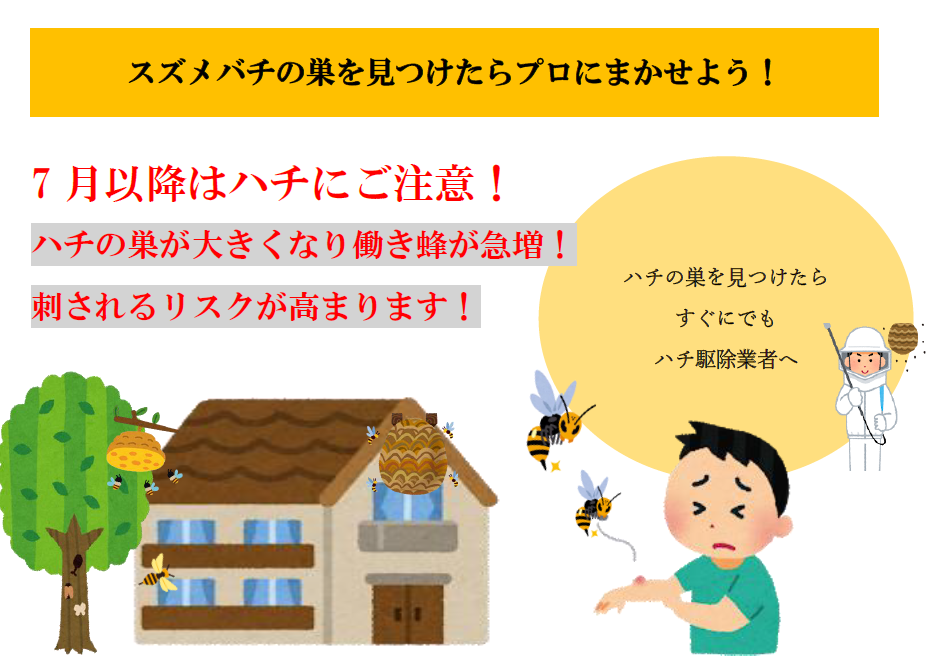 スズメバチの巣を見つけたら速やかに害虫駆除業者にまかせるのが安全です